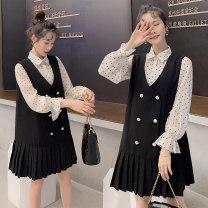 Dress Other / other Shirt + dress two piece set M,L,XL,XXL Korean version Long sleeves routine spring Crew neck Dot