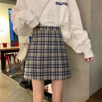 skirt Summer 2020 S [90-100kg], m [100-110kg], l [110-120kg], XL [120-135kg], 2XL [135-150kg], 3XL [150-165kg], 4XL [165-175kg], 5XL [175-200kg] Light green grid, blue grid Short skirt commute High waist A-line skirt lattice Type A 18-24 years old other Old, button Retro