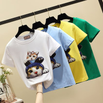 T-shirt S [90-100 kg], m [100-110 Jin], l [110-120 Jin], XL [120-135 Jin], 2XL [135-145 Jin], 3XL [145-160 Jin], 4XL [160-175 Jin], 5XL [175-200 Jin] Summer of 2019 Short sleeve Crew neck easy routine commute cotton 96% and above 18-24 years old Other / other