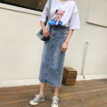 skirt Spring of 2019 wathet Mid length dress commute High waist A-line skirt Type A 18-24 years old Denim Coardiarn / Kuandian Korean version
