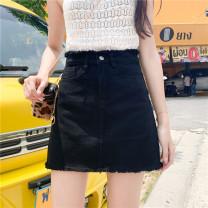 skirt Winter of 2019 S [90-100 Jin], m [100-110 Jin], l [110-120 Jin], XL [120-135 Jin], 2XL [135-150 Jin], 3XL [150-165 Jin], 4XL [165-175 Jin], 5XL [175-200 Jin] White, black Short skirt commute High waist A-line skirt Type A 18-24 years old Denim Coardiarn / Kuandian Korean version