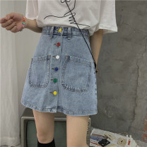 skirt Summer 2020 S [90-100 kg], m [100-110 kg], l [110-120 kg], XL [120-135 kg], 2XL [135-150 Jin], 3XL [150-165 kg], 4XL [165-175 Jin], 5XL [175-200 Jin] wathet Short skirt commute High waist A-line skirt Solid color Type A 18-24 years old 30% and below other other Button Korean version