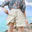 Jeans Summer 2020 White, black S [90-100 kg], m [100-110 kg], l [110-120 kg], XL [120-135 kg], 2XL [135-150 Jin], 3XL [150-165 kg], 4XL [165-175 Jin], 5XL [175-200 Jin] shorts High waist Wide legged trousers routine 18-24 years old light colour Coardiarn / Kuandian