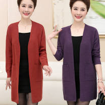 Middle aged and old women's wear Spring of 2019, autumn of 2019 Orange, dark purple, brown M [weight 90-105 kg], l [weight 105-115 kg], XL [weight 115-130 kg], 2XL [weight 130-145 kg], 3XL [weight 145-160 kg] fashion Knitwear / cardigan easy singleton  Solid color 40-49 years old Cardigan moderate