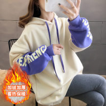 Sweater / sweater Winter of 2019 Apricot Long sleeves routine Socket singleton  thickening Hood easy routine 18-24 years old 81% (inclusive) - 90% (inclusive) Printing, splicing spandex