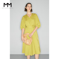 Dress Summer 2021 150/76A/XS 155/80A/S 160/84A/M 165/88A/L longuette singleton  Short sleeve commute V-neck High waist Solid color Socket A-line skirt puff sleeve 25-29 years old Type X Wheat lemon Simplicity 51% (inclusive) - 70% (inclusive) other cotton