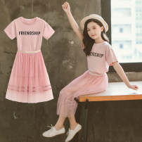 suit Other / other Pink 88 long t skirt suit, black and white striped skirt 110, 120, 130, 140, 150, 160 female summer fresh Short sleeve + skirt 2 pieces Thin money There are models in the real shooting Socket nothing other cotton children Giving presents at school Class B Other 100%