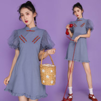cheongsam Summer 2021 S,M,L,XL,2XL grey Short sleeve Short cheongsam ethnic style No slits daily Solid color 18-25 years old other