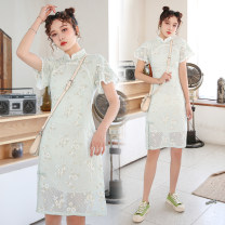 cheongsam Autumn 2021 S,M,L,XL Water green Short sleeve Single cheongsam Retro No slits daily Oblique lapel scenery 25-35 years old Piping 51% (inclusive) - 70% (inclusive)