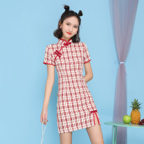 cheongsam Summer 2021 S,M,L,XL Red, black Short sleeve Short cheongsam Retro Low slit daily Oblique lapel lattice 18-25 years old Piping 96% and above