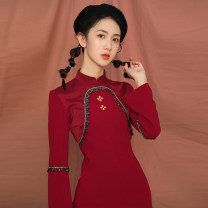 cheongsam Autumn 2020 S,M,L,XL claret Long sleeves ethnic style Low slit daily Round lapel Solid color 18-25 years old Embroidery Other / other polyester fiber