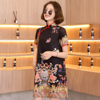 cheongsam Summer 2021 M,L,XL,2XL Lemon yellow, black Short sleeve ethnic style No slits Oblique lapel scenery 18-25 years old Piping