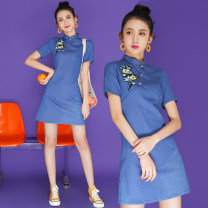 cheongsam Summer 2021 S,M,L,XL,2XL Denim blue Short sleeve ethnic style Low slit Solid color 18-25 years old Piping other 91% (inclusive) - 95% (inclusive)