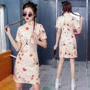 cheongsam Summer 2021 S,M,L,XL Short sleeve Low slit Animal design 18-25 years old