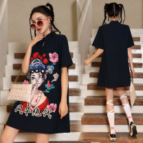cheongsam Summer 2021 S,M,L,XL be really a most unusual and quite individual beauty Short sleeve ethnic style No slits 18-25 years old