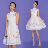 cheongsam Summer 2021 S,M,L,XL,2XL White, Navy Sleeveless ethnic style No slits Oblique lapel scenery 18-25 years old Embroidery 8357 in stock other