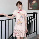 cheongsam Summer 2021 XXL,XXXL,M,L,XL,4XL Pink Short sleeve Short cheongsam grace No slits daily Oblique lapel Decor 18-25 years old Piping cotton 96% and above