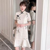 cheongsam Summer 2021 M,L,XL,4XL,3XL,2XL Off white Short sleeve ethnic style Animal design 18-25 years old Other / other