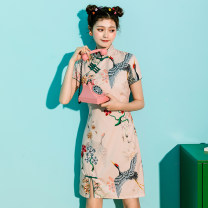cheongsam Summer 2021 S,M,L,XL Lotus root color Short sleeve Retro Low slit 18-25 years old polyester fiber
