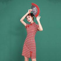 cheongsam Summer 2021 S,M,L,XL gules Short sleeve Short cheongsam ethnic style High slit daily Round lapel lattice 18-25 years old hemp 31% (inclusive) - 50% (inclusive)