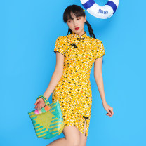 cheongsam Summer 2021 S,M,L,XL Picture color Short sleeve Short cheongsam Retro 18-25 years old