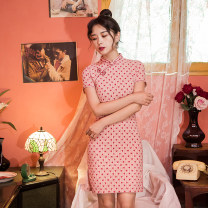 cheongsam Spring 2021 S,M,L Picture color Short sleeve Single cheongsam grace High slit daily 18-25 years old