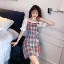 Dress Summer 2021 Red grid, green grid S,M,L,XL Short skirt singleton  Short sleeve One word collar middle-waisted lattice zipper 18-24 years old Type A Splicing