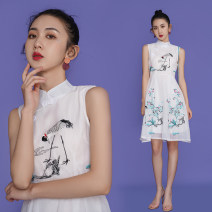 cheongsam Summer 2021 S,M,L,XL,2XL Light blue, white Sleeveless No slits daily Decor 18-25 years old Embroidery 8356 in stock cotton