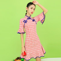 cheongsam Spring 2021 S,M,L,XL red-checkered pattern Short sleeve ethnic style Semicircle lapel lattice 18-25 years old Piping cotton