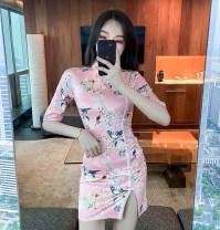 cheongsam Summer 2021 S,M,L Decor Short sleeve Short cheongsam Retro Low slit daily Oblique lapel Decor 18-25 years old Piping 8090# polyester fiber