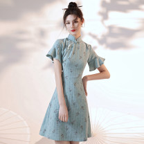 cheongsam Summer 2021 S,M,L,XL Picture color Short sleeve Short cheongsam Retro daily Decor 18-25 years old Embroidery