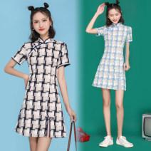 cheongsam Summer 2021 S,M,L,XL Blue, black Retro Low slit 18-25 years old cotton