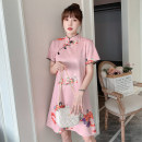 cheongsam Spring 2021 XXL,XXXL,M,L,XL,4XL Pink Short sleeve Short cheongsam literature No slits daily Oblique lapel character 18-25 years old Piping cotton 96% and above