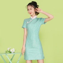 Dress Summer 2021 wathet S,M,L,XL,2XL Miniskirt singleton  Short sleeve commute stand collar middle-waisted Solid color Socket routine Others 18-24 years old Type H Other / other ethnic style 81% (inclusive) - 90% (inclusive) brocade cotton