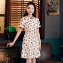 cheongsam Summer 2020 S,M,L,XL Apricot cherry skirt Short sleeve long cheongsam ethnic style Low slit daily Broken flowers 18-25 years old Piping polyester fiber
