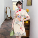 cheongsam Summer 2021 XXL,XXXL,M,L,XL,4XL Apricot Short sleeve Short cheongsam grace No slits daily Oblique lapel lattice 18-25 years old Piping cotton 96% and above