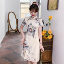 cheongsam Summer 2021 M,L,XL,3XL,2XL,4XL Apricot Short sleeve Short cheongsam ethnic style Low slit daily Oblique lapel Big flower 18-25 years old Piping cotton 96% and above