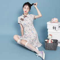 cheongsam Summer 2021 S,M,L,XL Pink flowers Short sleeve Short cheongsam literature No slits daily Oblique lapel Broken flowers 18-25 years old Piping 7128# 51% (inclusive) - 70% (inclusive)
