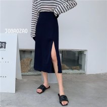 skirt Autumn 2020 Average size Black, gray blue Short skirt A-line skirt Solid color 18-24 years old other other Splicing, asymmetric