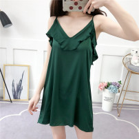 Pajamas / housewear set female miss Polyester (polyester) camisole sexy Leisure home summer Thin money V-neck Solid color youth 81% (inclusive) - 95% (inclusive) Lotus leaf edge Short skirt