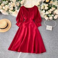 Dress See description Green, black, white, red S,M,L Long sleeves V-neck Solid color