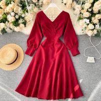 Dress See description Black, white, red, green S,M,L Long sleeves V-neck Solid color