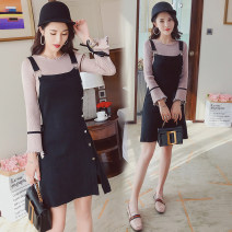 Dress Autumn of 2019 Picture color M,L,XL,2XL Mid length dress Fake two pieces Long sleeves commute middle-waisted Socket Princess Dress Korean version More than 95% brocade nylon