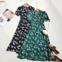 Dress Spring 2021 S, M Mid length dress singleton  Short sleeve commute V-neck High waist Single breasted A-line skirt other Others Type A Korean version 81% (inclusive) - 90% (inclusive) other other