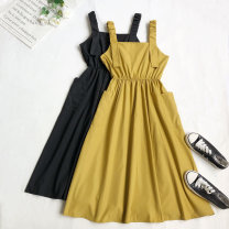 Dress Summer 2021 Yellow, black Average size Mid length dress singleton  Sleeveless other High waist Socket Big swing other straps Type A 51% (inclusive) - 70% (inclusive) other cotton