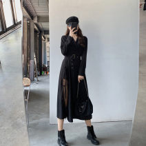 Dress Autumn 2020 Black quality version in stock S,M,L longuette singleton  Long sleeves commute V-neck High waist Solid color Socket Ruffle Skirt routine Type X Britain 51% (inclusive) - 70% (inclusive) other other