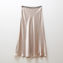 skirt Summer 2021 M,L,XL,2XL Black, apricot Mid length dress commute High waist A-line skirt Solid color Type A 30-34 years old A606N25H25J2133 Other / other Simplicity