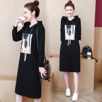 Dress Spring 2021 Black (without velvet), black (with velvet) M,L,XL,2XL,3XL,4XL Mid length dress singleton  Long sleeves commute Hood Loose waist character Socket A-line skirt routine 18-24 years old Type H Other / other Korean version Patch, pocket, resin fixation, printing 1937# cotton