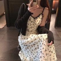 Women's large Summer 2021 Black cardigan (single), floral suspender skirt (single), black cardigan + floral suspender skirt (suit) Large L, large XL, large XXL, s, m, 3XL, 4XL Two piece set commute Self cultivation Socket Short sleeve Flower color Korean version V-neck routine 18-24 years old