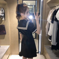 Women's large Summer 2021 Black dress S,M,L,XL,XXL Dress Sweet Self cultivation Short sleeve Solid color Admiral Medium length routine 18-24 years old 96% and above Short skirt other college